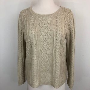 Monteau Cable Knit Sweater with Elbow Patches